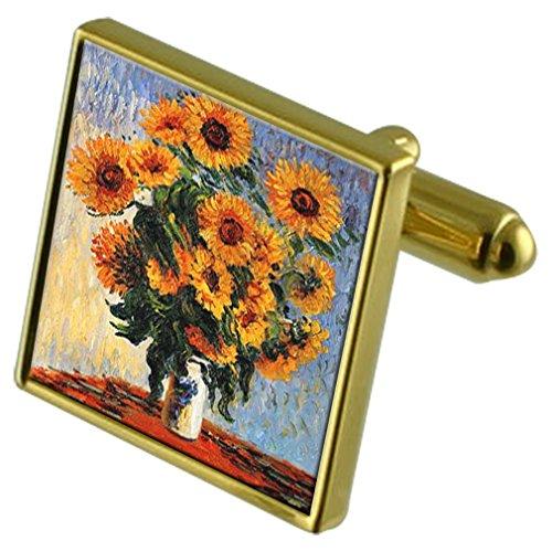 Select Gifts Monet Sonnenblumen malen Gold-Manschettenknöpfe im Beutel