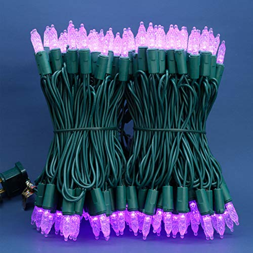 Purple Faceted LED Christmas Lights, 66 Ft 200 LED UL Certified Commercial Grade Holiday String Light, End to End Connectable Indoor & Outdoor Green Wire Lights Set (Lavender)