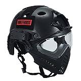 OneTigris フェイス保護ヘルメット PJタイプヘルメット ミリタリー風 多機能(ブラック)