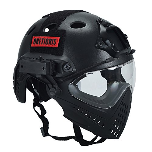 OneTigris Integrated Tactical PJ Helmet F22 with Removable Face Mask and Goggles (Black)