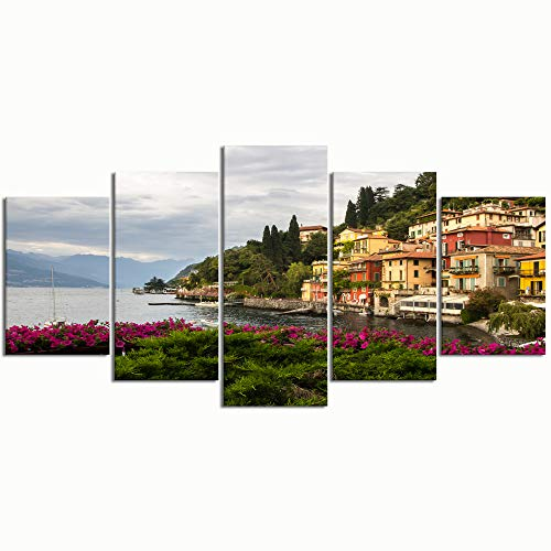 PENGTU Paintings Modern Canvas Painting Wall Art Pictures 5 Pieces, varenna on Lake Como Italy,Wall Decor HD Printed Posters Frame