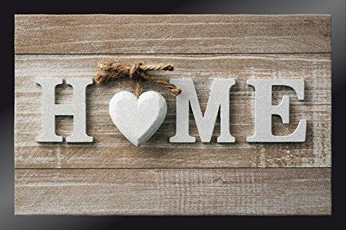 ID MAT 4060 - Zerbino in Fibra poliammidica e PVC, Motivo: Scritta Home con Cuore, 60 x 40 x 0,67 cm, Multicolore