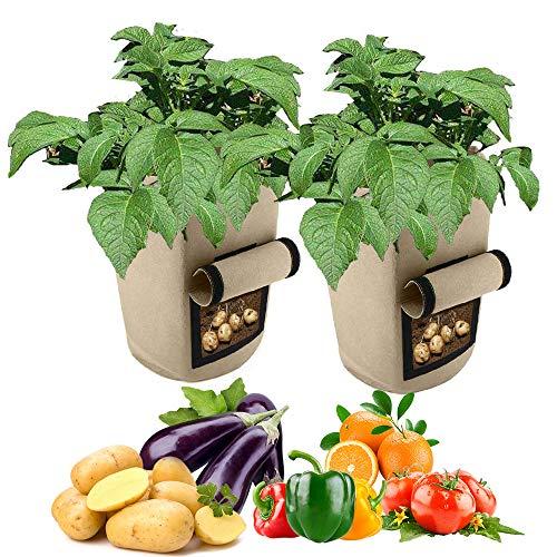 Bemodst Pflanztasche, 46L Kartoffel Pflanzsack Fühlte Garten Pflanzbeutel Vegetables Pflanzgefäß Gärtnerei Pflanzbehälter mit Sichtfenster & Griff für Erdbeer Karotten Tomate Zwiebel Blume (Khaki)