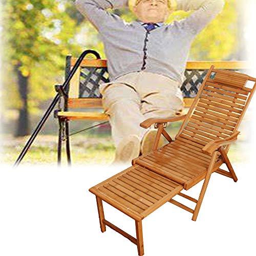 QHTC Sonnenliege Faltbare Liegestuhl Holzstuhl mit ausziehbarem Pedale Lehnstuhl für Garten Innenhof Pool Saun