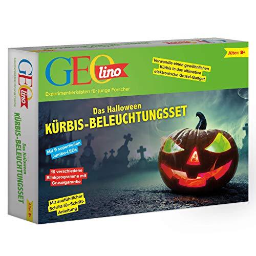 FRANZIS GEOlino Halloween Kürbisbeleuchtungsset |Dein persönliches Halloween-Gadget | 16 verschiedene Blinkprogramme | Ab 8 Jahren