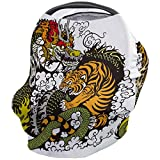 Car Seat Canopy Nursy Cover Tattoo, Multi Use Breastfeeding Scarf for Infant Carseat Canopy Stroller Shopping Cart Highchair Black and White Tattoo Dragon and Tiger Fighting