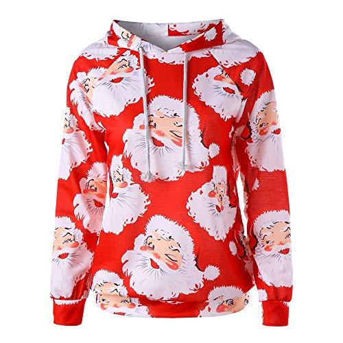 TIFIY Damen Weihnachtsbluse Frauen-Weihnachtsmann-Druck-langes Hülsen-Hoodie-Sweatshirt übersteigt Blusen-Hemd Basic Wild Abgenutzt Festlich Winter Top Rot L