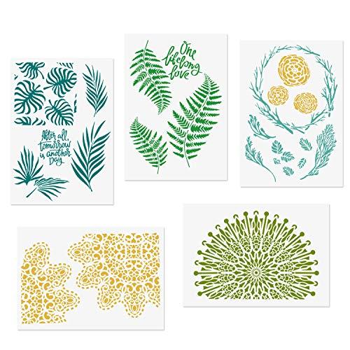 COODHI 5 Packungen Blatt Schablonen Monstera Palm Tropical Green Blätter Floral Mandala Wiederverwendbare Mylar-Schablonen – DIY Craft Schablonen für Malen 21 x 29.7cm