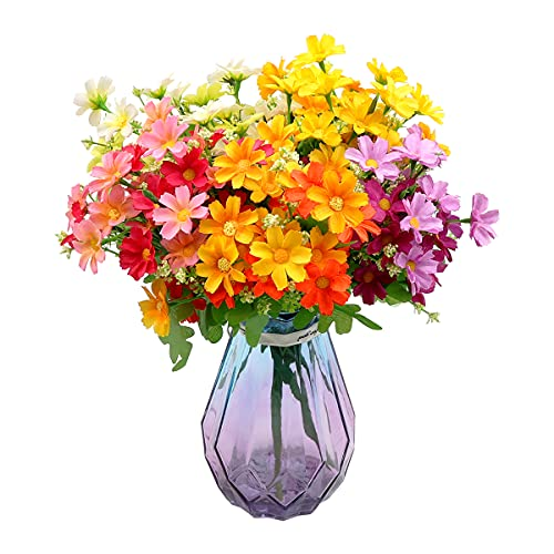 Xiangmall 6 Bouquet Fiori Artificiali Margherita Finti Piante Arbusti Artificiali per Decorazioni Casa Salotto Vaso Giardino Matrimonio Finestra Interni Esterni (colorato)