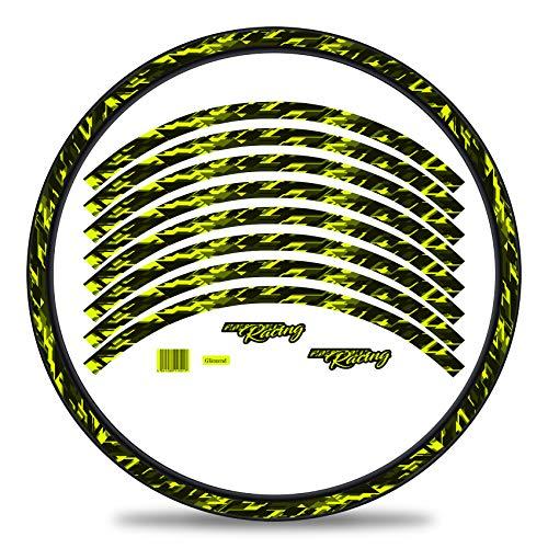 Finest Folia Juego de 16 adhesivos para llantas de bicicleta diseño de future juego completo para bicicletas de 27 a 29 pulgadas (amarillo neón, brillante)