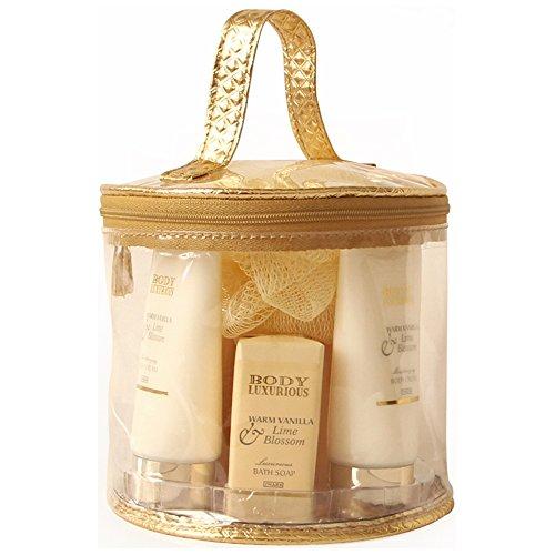 Coffret cadeau beauté pour femme - Trousse de Bain incluant une crème pour les mains - Collection Body Luxurious - Vanille/Tilleul