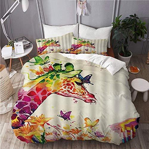 Ropa de cama Funda nórdica Juego de 3 fundas de edredón con 2 fundas de almohada, jirafa, divertido, colorido, animlas, flores de mariposa en primavera, arte vívido, edredón de microfibra ultra suave,