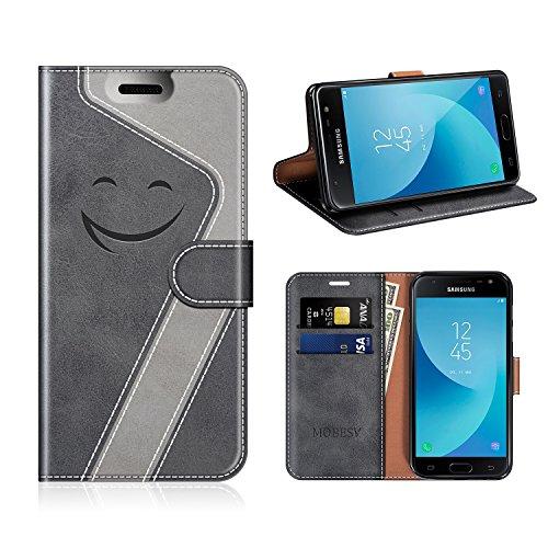 MOBESV Smiley Samsung Galaxy J7 2017 Hülle Leder, Samsung J7 DUOS 2017 Tasche Lederhülle/Wallet Hülle/Ledertasche Handyhülle/Schutzhülle für Samsung Galaxy J7 DUOS 2017, Schwarz/Grau
