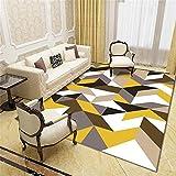 Moqueta Alfombra Para Habitacion Patrón de triángulo amarillo habitación de los niños decoración de la sala de estar seguridad antideslizante y protección del medio ambiente lavable a máquina sin defo