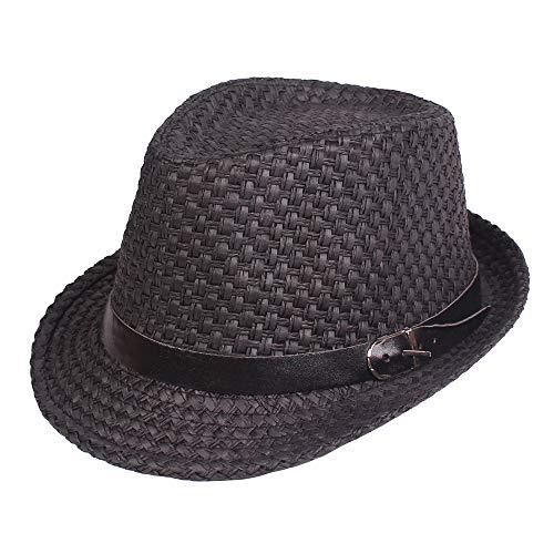 H/A Hombres Verano Tejido Jazz Sombrero de Paja al Aire Libre Protección Solar ala Corta Sombrero Fedora Sombrero AZHAA (Color : Color Black, Size : One Size)