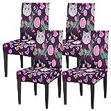 Juego de 4 fundas para sillas de comedor, con diseño de gato, elásticas, fundas de silla lavables, protector de asiento extraíble para cocina, hotel, restaurante, fiesta ceremonia