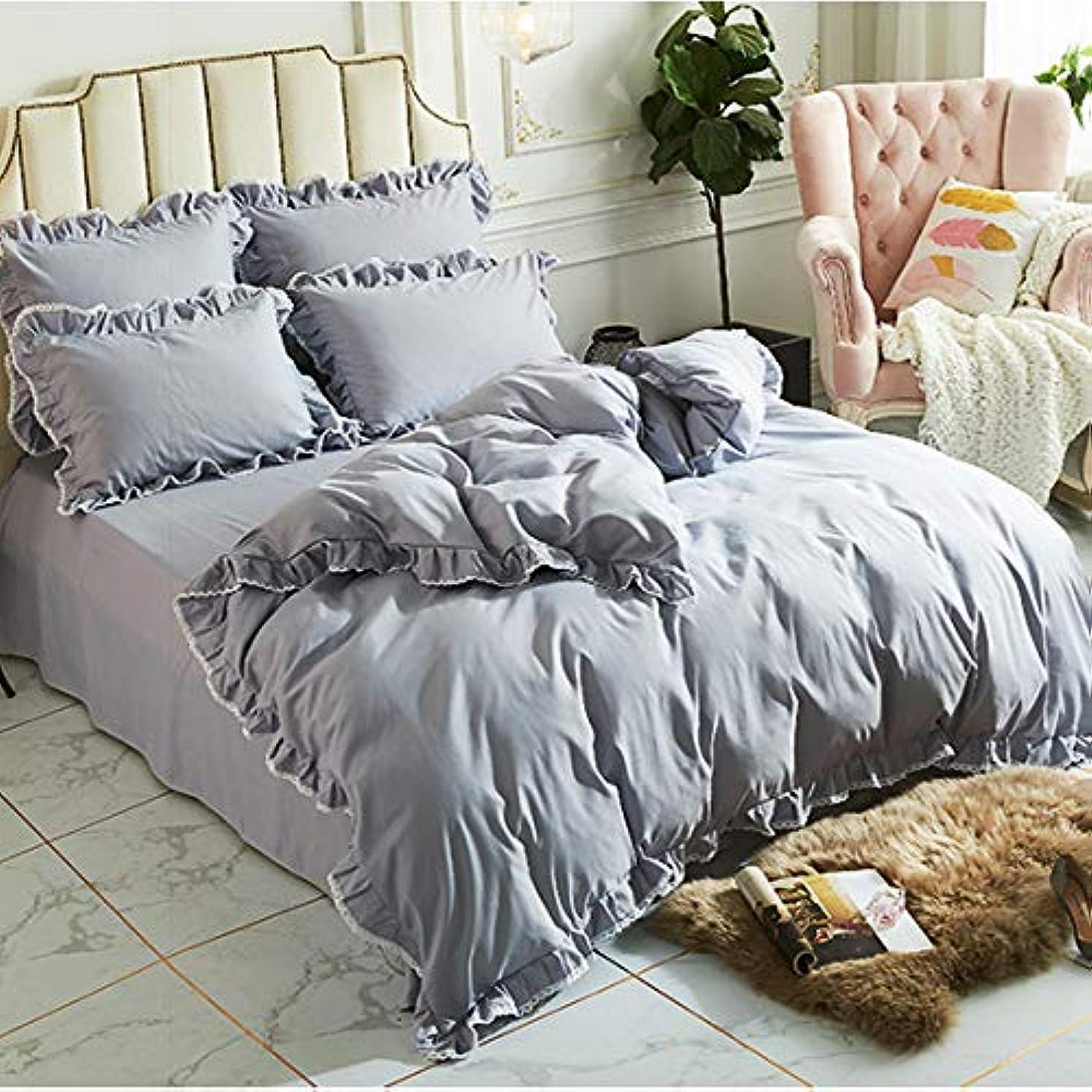 スロットプロフェッショナルコンデンサー無地 アンティーク寝具カバー/ホワイトレース綿100%グレーの掛布団カバー 枕カバー2枚