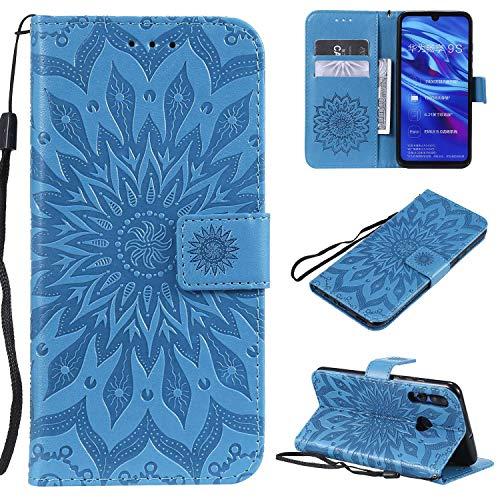 KKEIKO Hülle für Huawei P Smart Plus 2019 / Huawei Honor 10I, PU Leder Brieftasche Schutzhülle Klapphülle, Sun Blumen Design Stoßfest Handyhülle für Huawei P Smart Plus 2019 - Blau