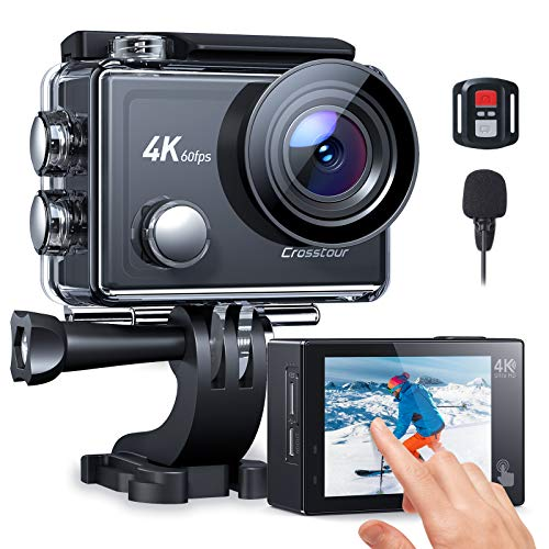 Crosstour Action Camera,4K 60FPS Touch Screen EIS Underwater Camera External Microphone Ultra HD Sports 8X ZOOM Camcorder With Remote Control/Two Rechargeable Batteries and Accessories Kits CT9900