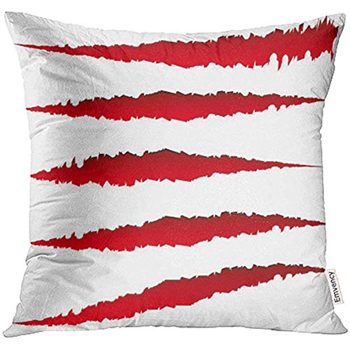 Be-ryl-pillowcases Cushion Cover 45 * 45cm Throw Pillow Covers Decorative Red Slash 5 Different Claw Scratches Marks Edgy Rip Wound Shapes Animal Attack Beast Carnivore Clawmark
