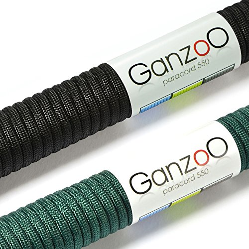Ganzoo Paracorde 550 Corde, pour Bracelet ou Collier de Chien, 62 mètres, Noir Vert foncé