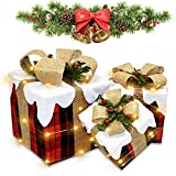 Christmas Lighted Gift Boxes Set of 3 Lighted Artificial Christmas Box Decorations Present Ornament...
