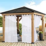 FLOWEROOM Sheer Outdoor Curtains for Patio Waterproof, White, 52 x 84 Inches Long - Indoor Privacy Voile Drapes, Grommet Semi-Sheer Curtains for Bedroom, Pergola, Porch, Gazebo and Cabana, 2 Panels