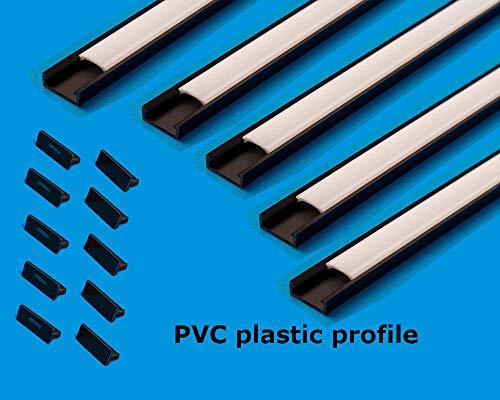 LED-Profilkanal mit milchigem Abdeckprofil, schmal, 16 x 7 mm, für Lichtleisten, PVC-Profil für LED-Leiste, 10 m (5 Stück x 2m) Modern Schwarz