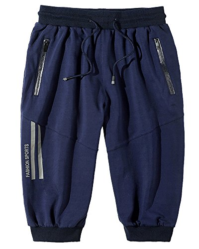 Herren Shorts Bermuda Kurze Hose Freizeithose Sport Chino Shorts Mit Kordel-Gürtel Blau 4XL