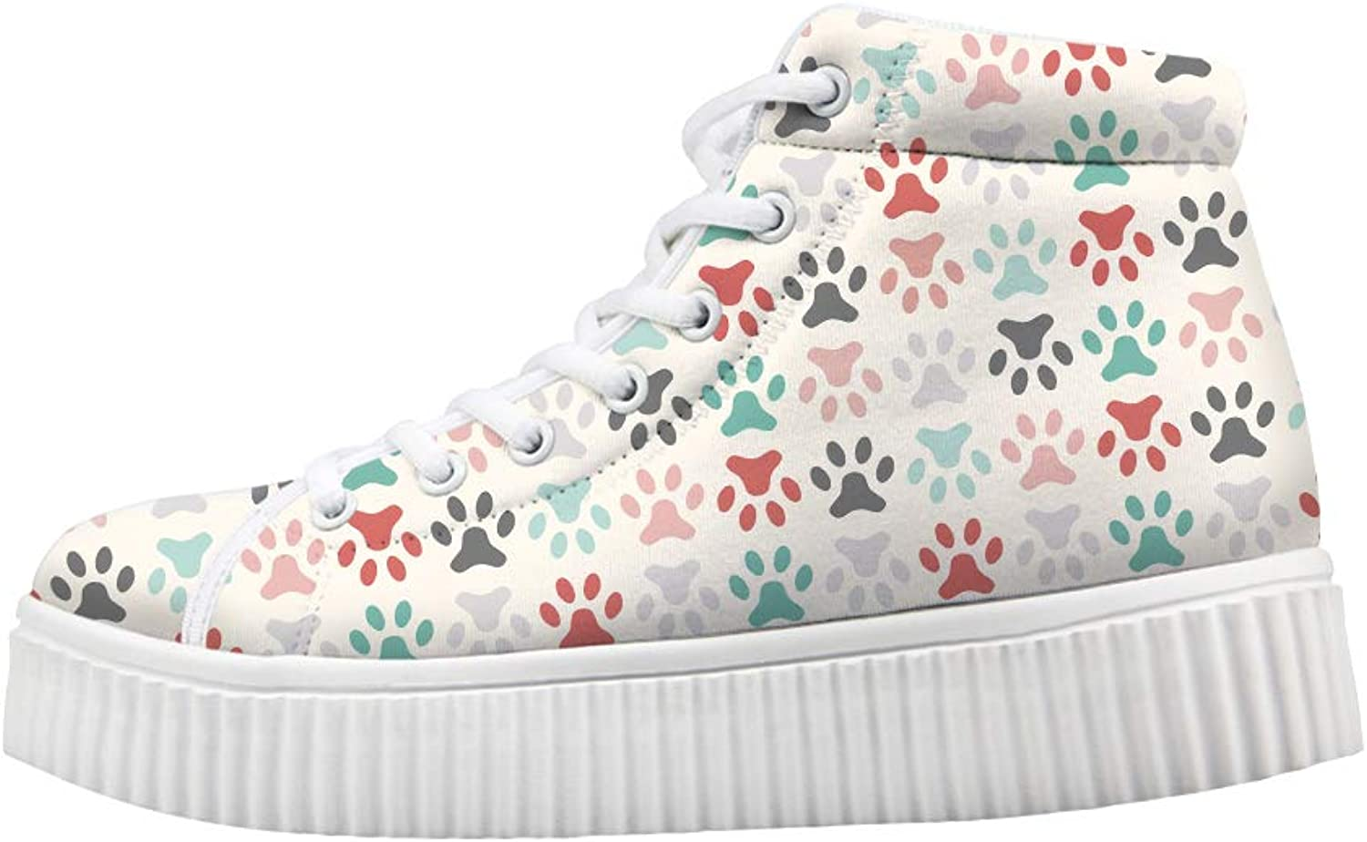 Owaheson Platform Lace up Sneaker Casual Chunky Walking shoes High Top Women colorful Pet Paw Print
