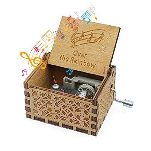 Womdee Music Box Over The Rainbow Theme, Manual De Caja De Música Clásica De Madera con Manivela, Mecanismo De 18 Notas Caja De Música Antigua Tallada.