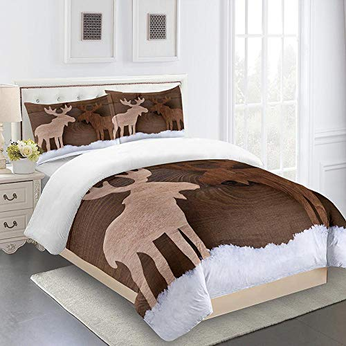 RYQRP Super King Duvet Cover Set Wood Elk Printed Quilt Cover Bedding Set 3pcs with Zipper Closure in 100% Polyester for Children Kids Teens Adults, 1 Quilt Cover 260x220cm with 2 Pillowcases
