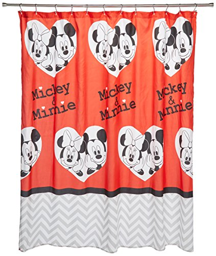 Mickey and Minnie in Heart Shape Fabric Shower Curtain