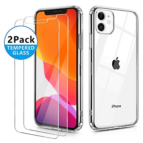 OULUOQI Compatible with iPhone 11 Case 2019, Tempered Glass Screen Protector [2Pack] with Shockproof Clear Case for iPhone 11 6.1 inch.