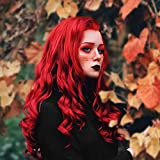 Imstyle Red Lace Front Wigs Long Wavy Synthetic Hair Cosplay Wigs Quality Heat Resistant Natural Ariel Wig for Women Halloween Costume 26 Inch (Red)
