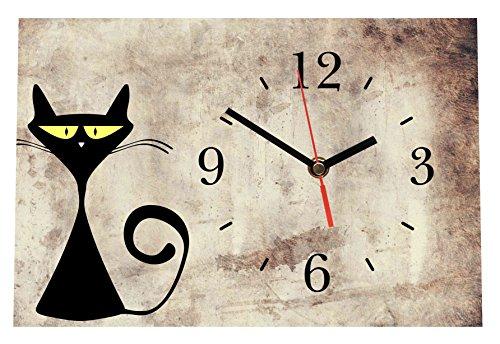 LAUTLOSE Designer Tischuhr Katze beige braun lustig Standuhr modern Dekoschild Bild 30 x 20cm