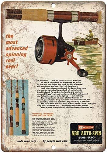 "Decorative Vintage Retro Metal Sign Garcia Abu Auto Spin Fishing Reel Retro Ad - 10'"" X 7"" Metal Tin Sign 12 X 18 Inches"