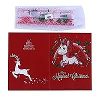 Tickas 5Dダイヤモンド塗装クリスマスカードダイヤモンド刺繍誕生日紙DIYグリーティングポストカード漫画クラフトキッズギフト