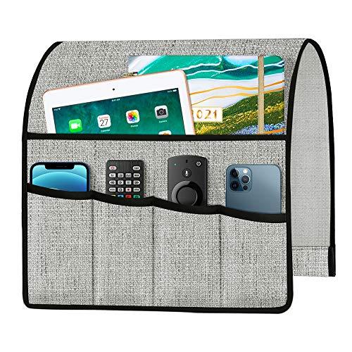 Joywell Dickes Leinen Sofa Sessel Caddy Armlehne Organizer Fernbedienung Halter für Liege Couch mit 5 Taschen für Zeitschriften, Tablet, Telefon, iPad, Hellgrau