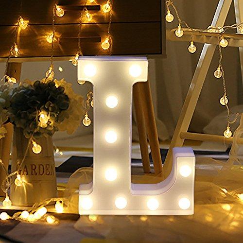 Letras Led Letras Decorativas Letras Alphabet Light Luces De Espejo Del Alfabeto A-Z con Luces de LED para Decoración de DIY Wedding Party Dormitorio Decoración (L)