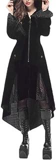 Macondoo Womens Casual Outwear Goth Irregular-Hem Hoodie Steampunk Trenchcoats