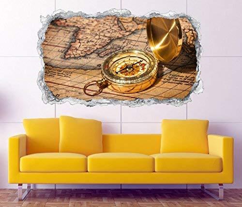 3D Wandtattoo Vintage antike Karte gold Kompass Retro Wand Aufkleber Durchbruch Stein Wandbild...