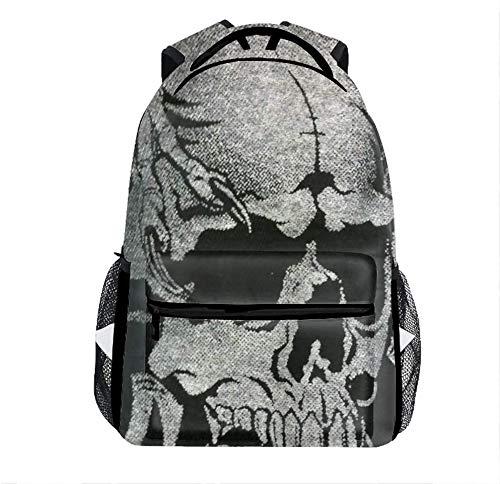 Fishing Backpack Weird Skull With Bottle Side Pockets For Teen Girls Boys Kids School Travel Outdoor Daypacks