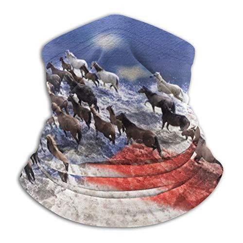 Los Caballos están cruzando el río. Vista Desde Arriba. Bandera de EE. UU, Pasamontañas, Calentador de Cuello, Gorros Reutilizables, Polainas para el Cuello, Tubo Que Cubre la Cara, Bandana para acam