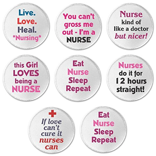 """Set 8 Live Love Heal Nursing Nurse Funny Humor Quotes 3"""" Sew On Patches"""