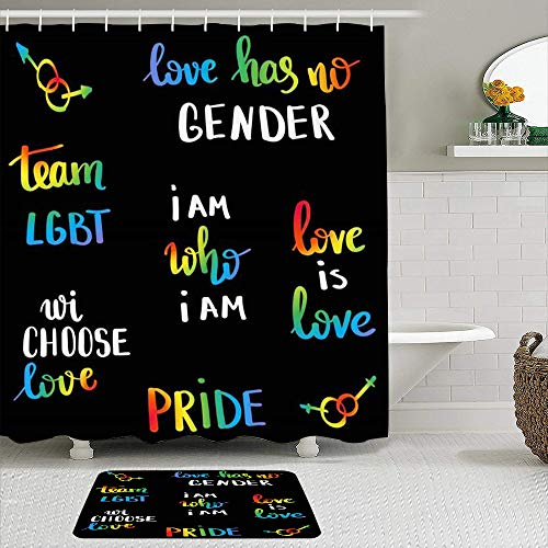 VAMIX Shower Curtain Sets with Non-Slip Rugs,Gay LGBT Love Pride Slogan Word Parade Poster Hand Written Lettering People Signs Symbols Lesbian,Waterproof Bath Curtains Hooks Bath Mat Rug Included