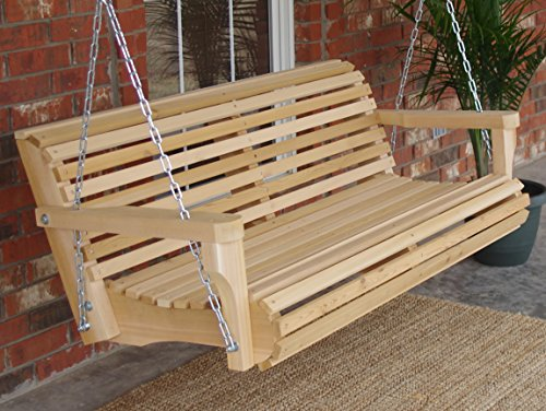 Contoured Classic Cedar Porch Swing with Hanging Chain and Cupholders - 6 Foot Natural