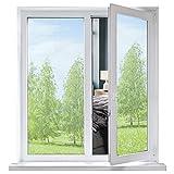 Funfox Spiegelfolie Selbstklebend Sichtschutzfolie für Fenster, Sonnenschutz Reflektierend Fensterfolie Wärmeisolierung 99% UV-Schutz Scheibenfolie Für Zuhause Büro Wohnzimmer, Silber 45 x 200 cm