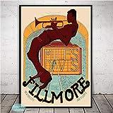 Miles Davis Art Poster Jazz Music Star Kind of Blue Carteles E Impresiones Decoración De La Pared Pintura De La Lona Arte Decoración para El Hogar 50 × 70Cm Sin Marco