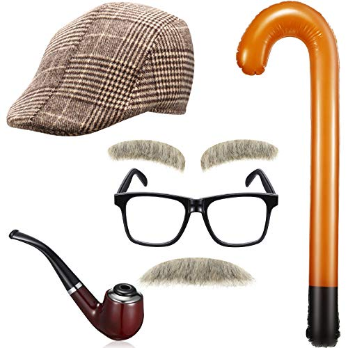 6 Pieces Old Man Kids Costume Kit Grandpa Accessories Men Beret Hat Fake Mustache Eyebrows Old Man Glasses Inflatable Cane Faux Pipe Prop for Boys Child Party Decorations 100th Day of School Brown